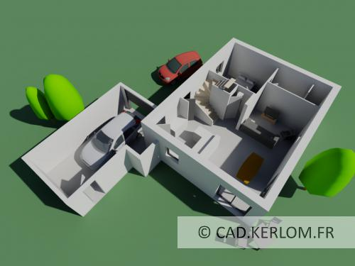 Maison En 3D Avec Autocad Architecture --- Kerlom