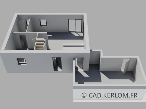 Maison en 3d avec autocad architecture kerlom for Plan de maison avec autocad